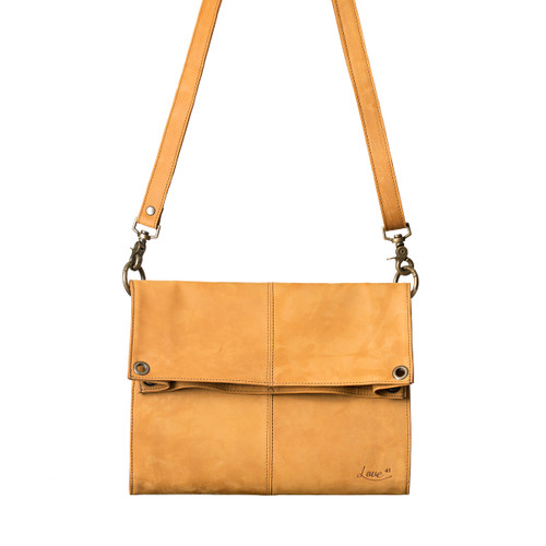 This is the front view of the light brown Nora Crossbody Leather Bag
