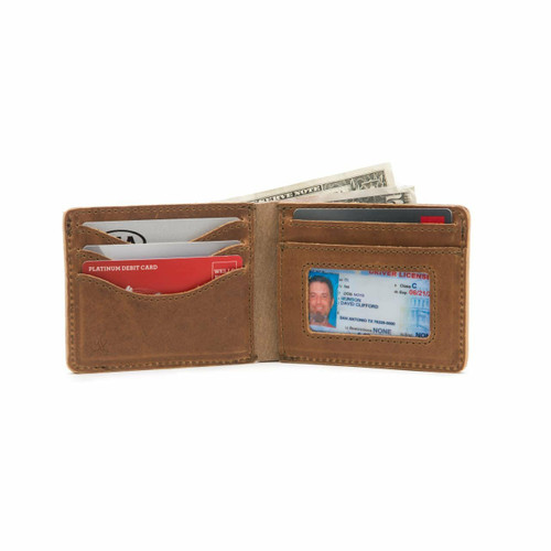 This is a tan brown leather wallet bifold with RFID showing the inside.