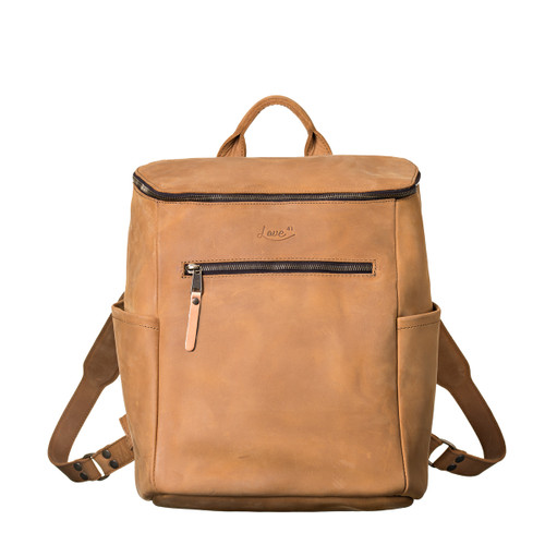 This is the front view of the leather all in one backpack in light tan