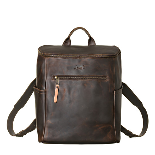 This is the front view of the leather all in one backpack in dark coffee