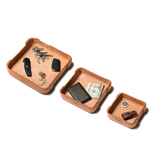 Leather Valet Tray - Set of 3