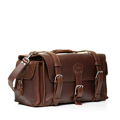 Side Pocket Leather Duffle Bag - Chestnut