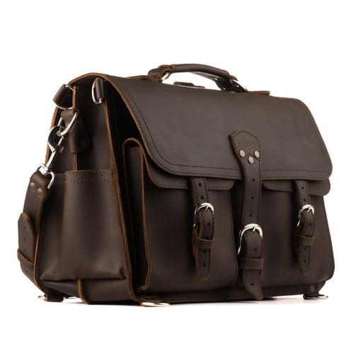 This is the dark brown leather briefcase with two front pockets and is 17 inches wide.