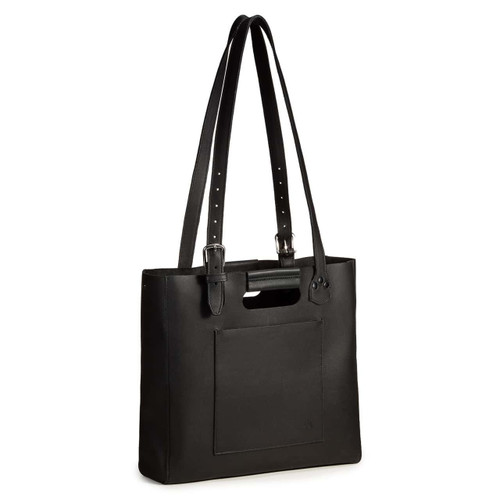 This is a black women's leather tote that some women use as a purse. It is facing the side.