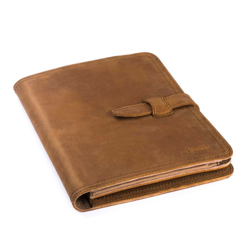 This is a tan brown leather portfolio front.