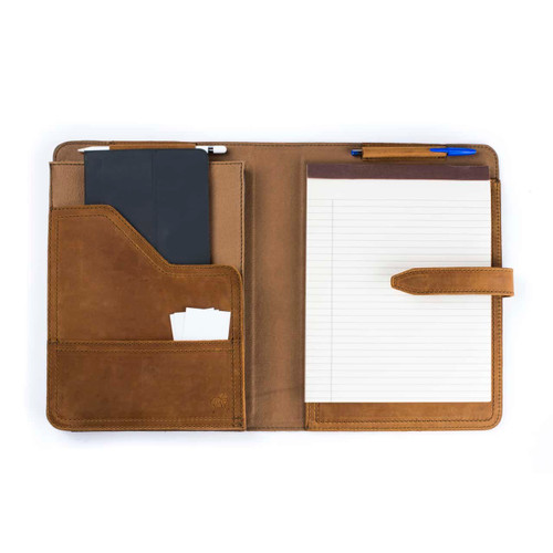 This is a tan brown leather portfolio open.
