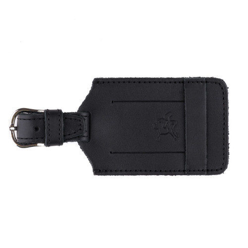 This is a black leather luggage tag that is closed to  be an ID Badge Holder.