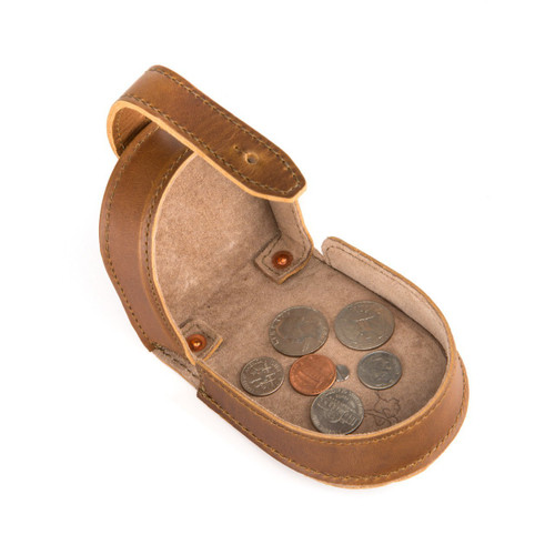 This is a tan brown leather coin purse for change and dentures.