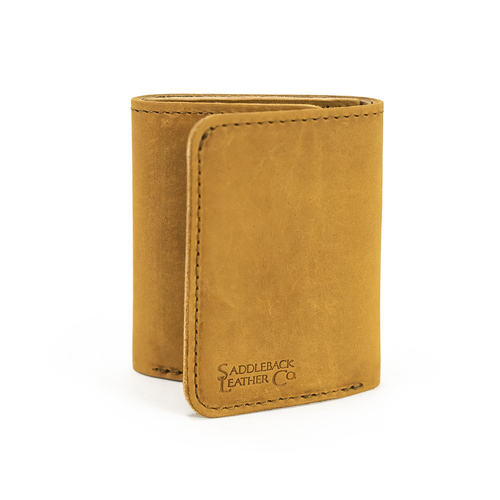 This is the exterior of a tan brown trifold leather wallet.