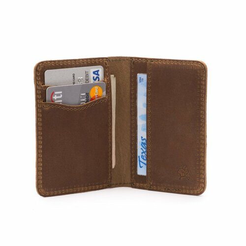 This is a thin tan brown leather wallet that folds in the middle wide open..