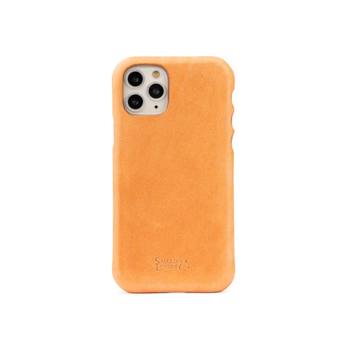 This is a brand new natural leather light tan brown leather iPhone case for a 12 pro max or 11.