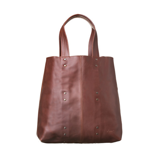 This is the front view of the giant leather weekend tote in reddish brown