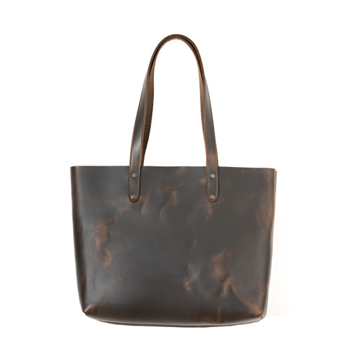 This is the front view of the dark brown simple leather tote