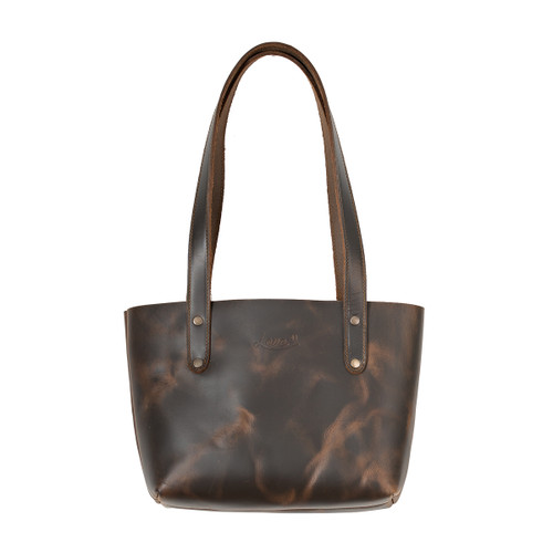 This is the front view of the small dark brown leather tote