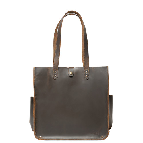 This is the front view of the women's leather tote in dark brown