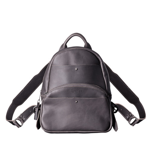 This is a black women's leather backpack from the front side.