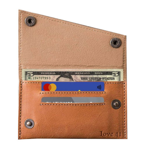 This is a tan brown leather wallet that is wide open.