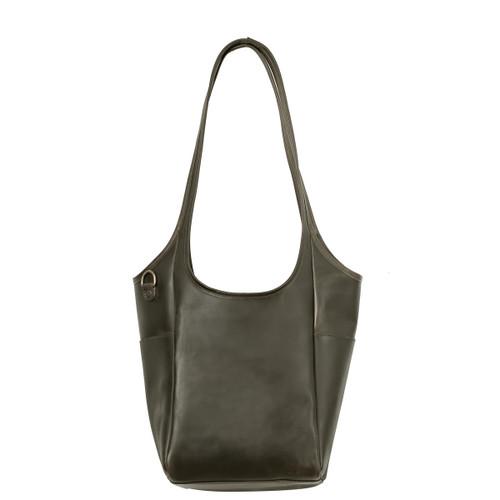 Suzette's Steals Hobo Shoulder Leather Tote-Carbon Black-Final Sale