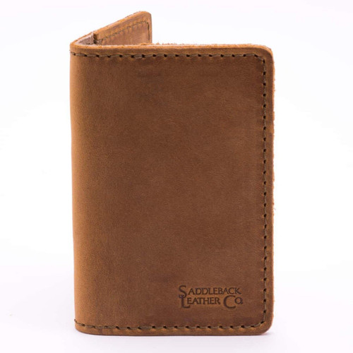 Slim Leather Business Card Holder - Tobacco