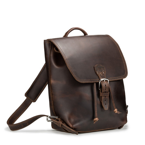 Drawstring Leather Backpack - Dark Coffee Brown