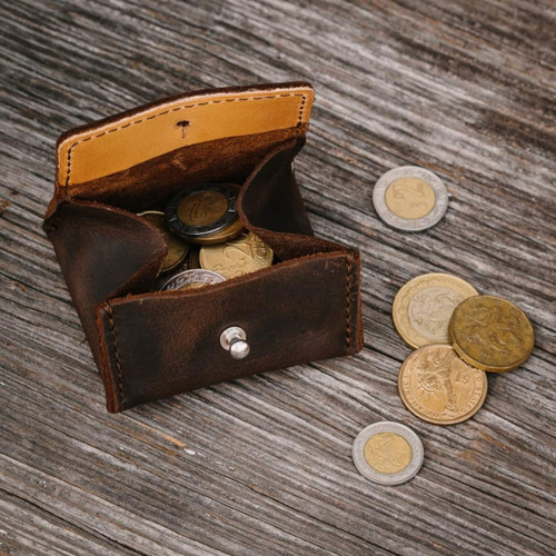 Pocket Leather Coin Purse - Dark Coffee Brown