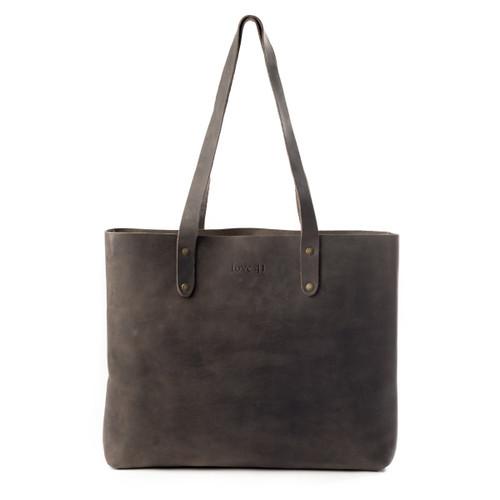 Suzette's Steals Simple Leather Tote-Black