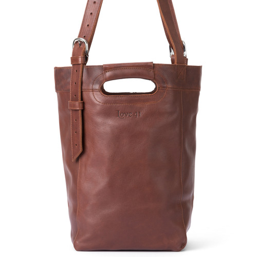 Suzette's Steals Bucket Leather Tote-Chestnut