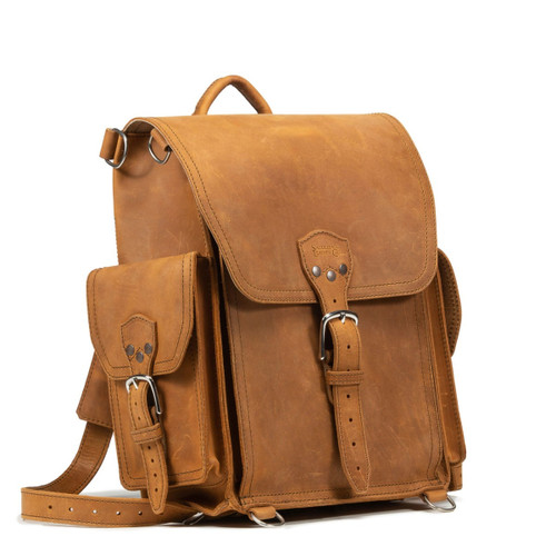 Squared Leather Backpack a.k.a. The Tank - Tobacco
