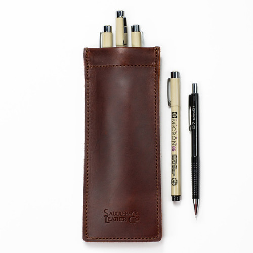 Bear Trap Leather Pen Case - Chestnut