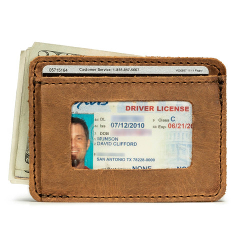 Front Pocket Leather ID Wallet - Tobacco
