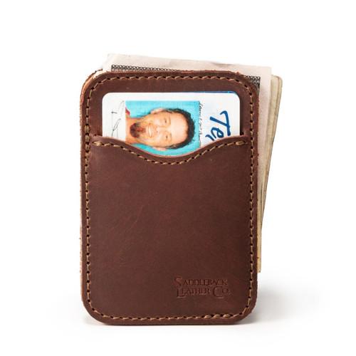Slim Leather Card Wallet - Chestnut