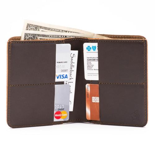 Large Bifold Leather Wallet - Dark Coffee Brown