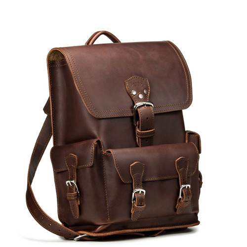 Thin Front Pocket Leather Backpack - Chestnut