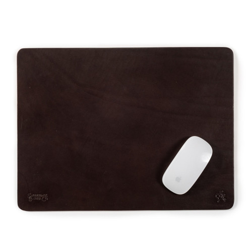 Old Bull Large Leather Mouse Pad - Dark Coffee Brown