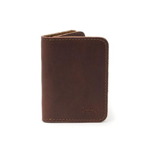 Leather Business Card Holder Wallet - Chestnut