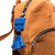 This is the bag view of the leather AirTag Holder Tassel in Blue