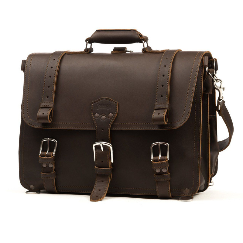 Large Classic Leather Briefcase- Dark Coffee Brown