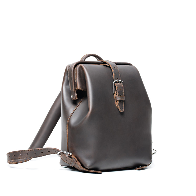 This is the dark brown gladstone leather backpack on the front side.