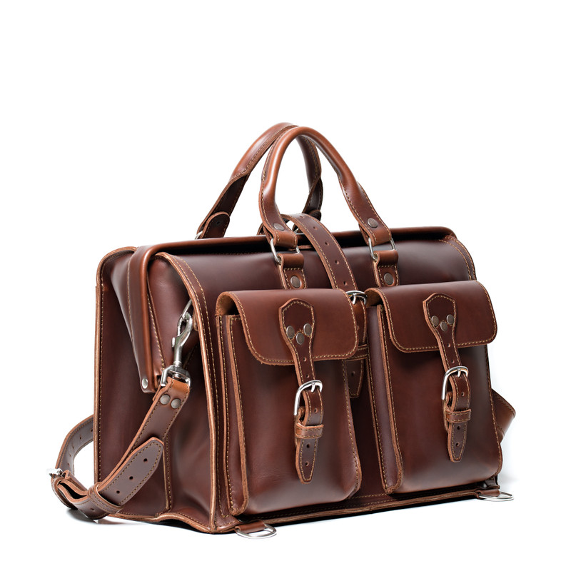 This red brown leather briefcase is large and wide with front pockets for lawyers.