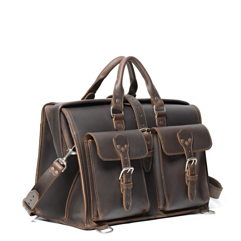 This dark brown leather briefcase is wide and large and has two front pockets for lawyers.