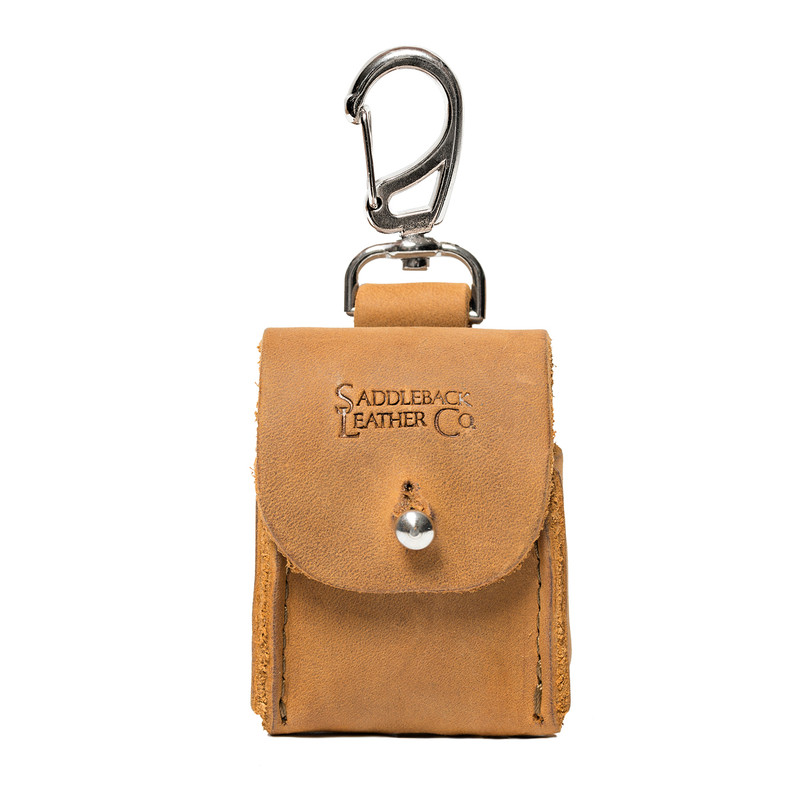This is the front image of the tan Leather AirPod Case.