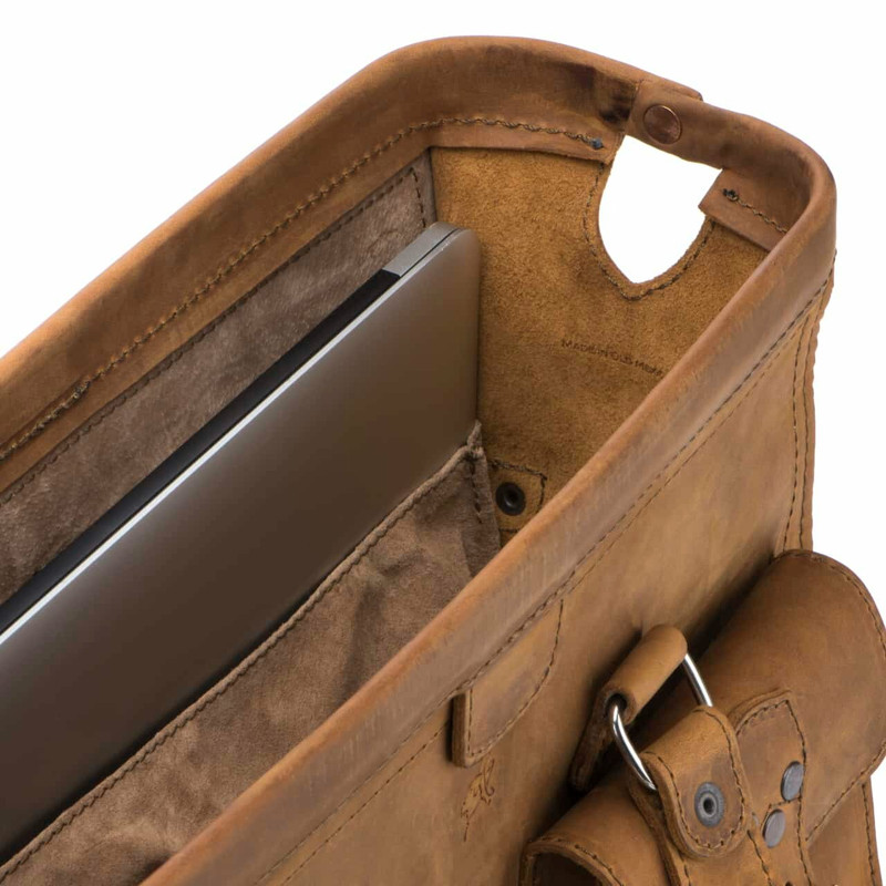 This is the inside of our tan brown gladstone bag type leather briefcase.