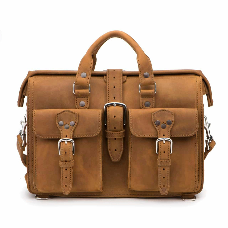 This is a front head on pic of our tan brown gladstone bag type leather briefcase.