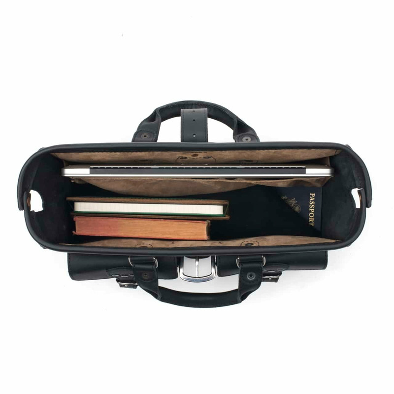 This is a picture of the black leather briefcase from above so you can see it wide open. It has a light tan interior.