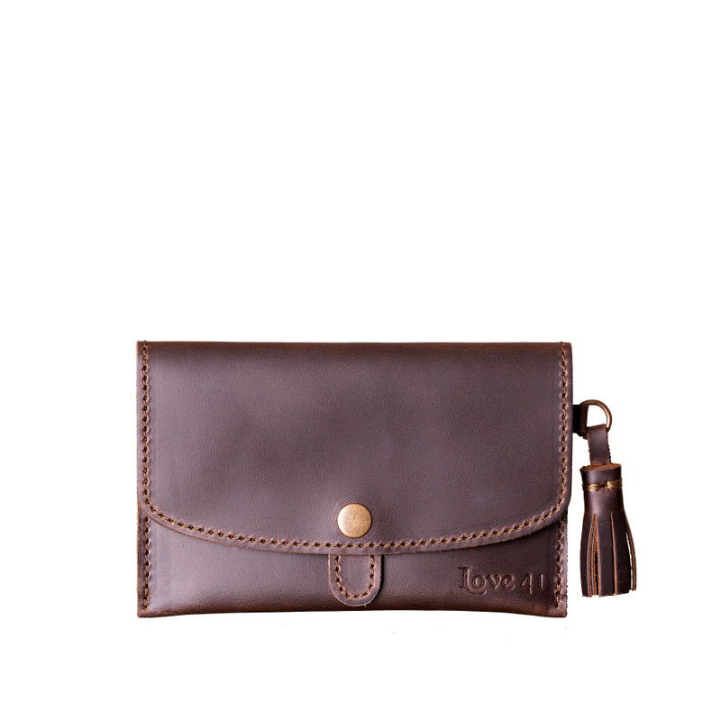 Leather Passport Case-Dark Brown