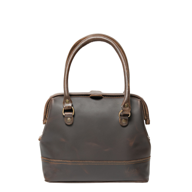 This is the front view of the leather satchel gladstone bag without crossbody strap