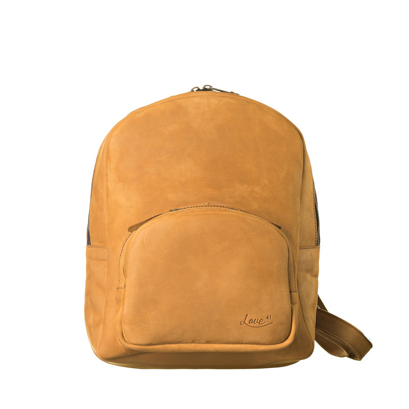 This is the view of the Sling Leather Backpack in light tan