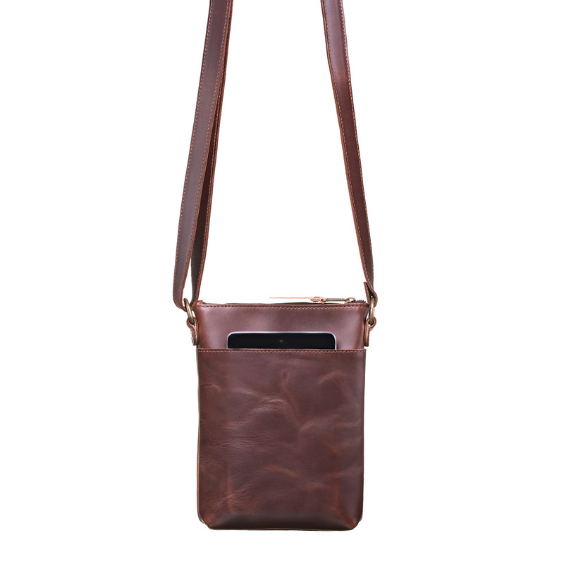 This is the front view of the Crossbody Leather Zipper Pouch