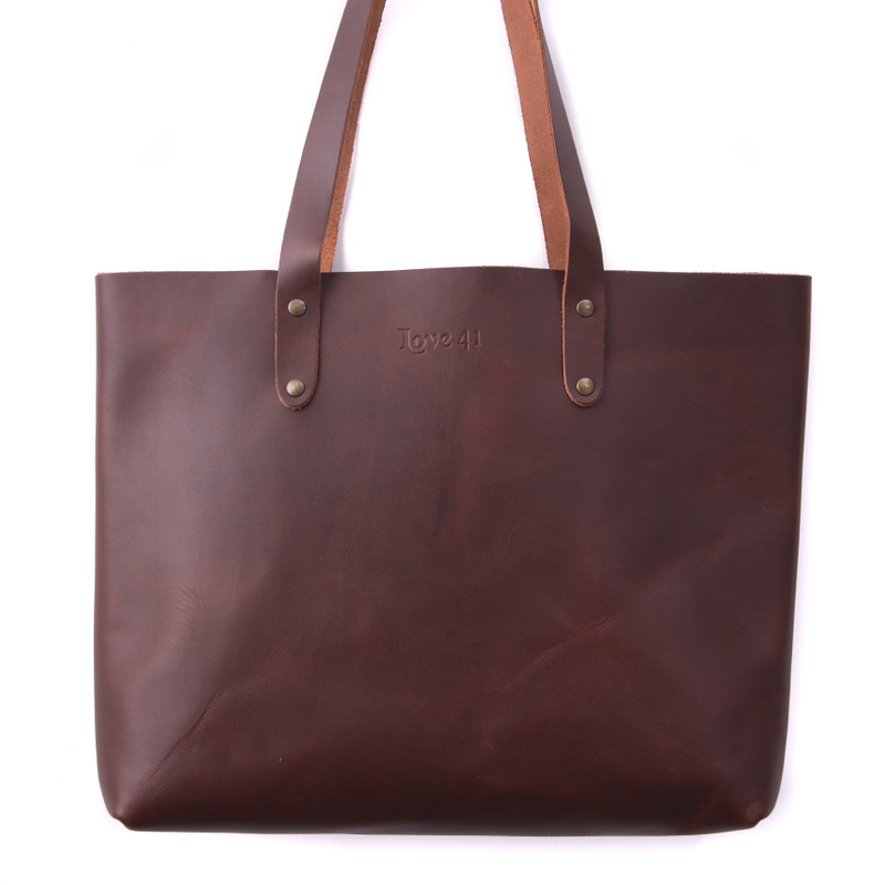 Suzette's Steals Simple Leather Tote-Chestnut