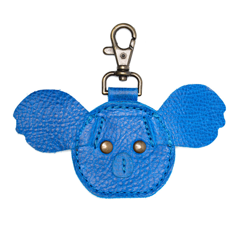 This is the front view of the Leather AirTag Holder Koala Blue